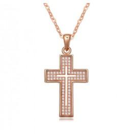 Колие Кръст розе голд