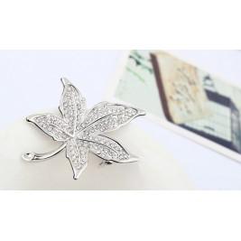 Брошка Листо кристал