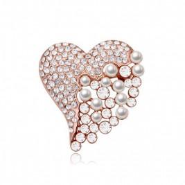 Брошка Сърце кристал